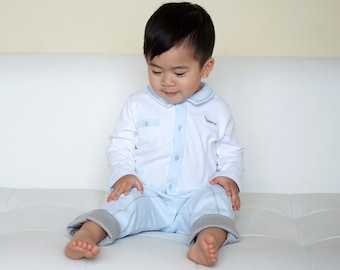 100% Pima Cotton Pant & Top Set for Baby Boy, Blue White Baby Pima Cotton Outfit, Baby First Easter
