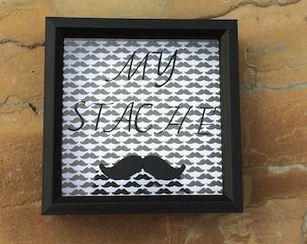 Mustache Box, My Stache Money Box, Shadow Box Art, Personalized Bank