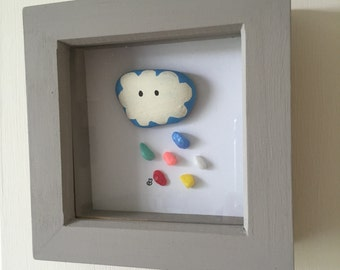 Framed cloud nursery baby small painted pebble stone picture