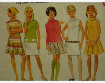 "60s Low Waist Dress, Pleated Skirt, High Neck, Short/Long Sleeves, Butterick No. 4900 Size 11/12 (Bust 32""81cm)"