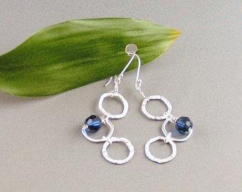 "Sterling Silver & Swarovski Crystal Earrings - ""Blue Magic"""