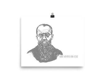 Saint Maximilian Kolbe Poster   Art with Quote   8x10 10x10 12x12 12x16 14x14 12x18 16x16 16x20 18x18 18x24
