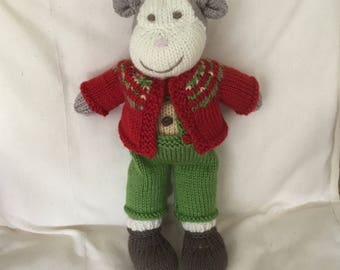 Hand knitted monkey, soft toy, knitted toy, monkey.