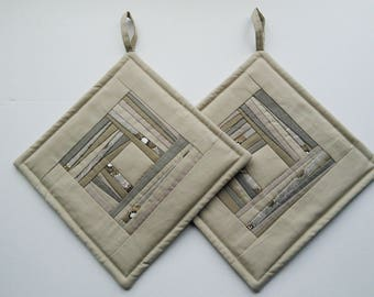 Hostess Gift   Unique Handmade Quilted Potholders  Fabric    Potholders Gift Set of 2