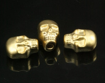 gold plated Skull Pendant 4 pcs   11 x 7 mm (hole 3 mm) Skull Findings spacer bead bab3 860