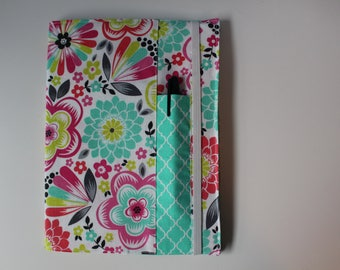 Flowers Fabric Notebook Cover With Pen Pocket - Composition Book