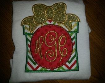 Christmas Present Monogram Custom Embroidery Applique