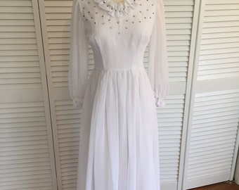 1970s white chiffon rhinestone dress