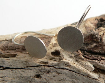 Simple Earrings Silver Round disc