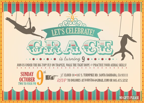 Custom printable circus trapeze birthday invitations from custom printable circus trapeze birthday invitations from orangeladybird on etsy studio filmwisefo
