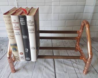 Copper and Wood Book Stand, book rack, book shelf