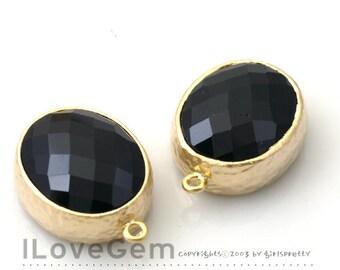 SALE / 10pcs /  B2721  Matt Gold plated, Jet Black, Oval pendant, Glass pendant, Framed glass, Faceted glass charm