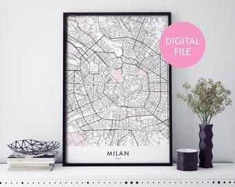 Milan, Italy City Map Print Wall Art   Print At Home   Digital Download File