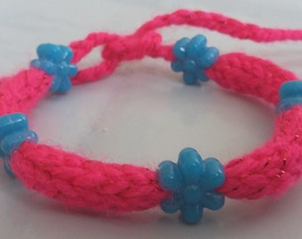Pink Handmade Knitted Bracelet With Blue Flower Beads