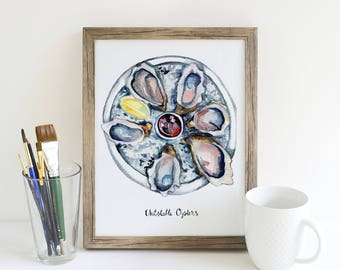 Oyster Art Print, Kitchen Art, Shellfish art, 8 x 10 art print, Watercolor painting