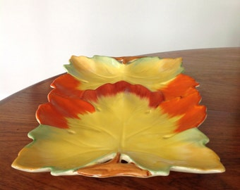 Clarice Cliff Art Deco leaf platter - tray - serving plate - antique platter
