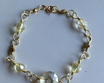 Gold wire wrapped handmade bracelet
