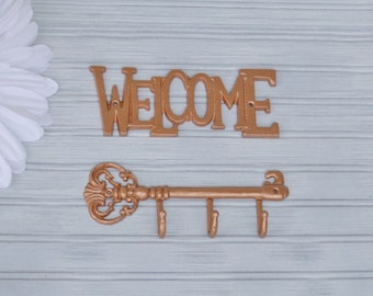 Welcome Wall Decor. Copper Key Rack. Copper. Welcome Decor. Key Holder. Welcome Sign. Metal Decor. Welcome Key Sign. Copper Decor. Key Hook