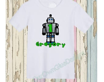 Silver Robot Birthday Shirt Personalize any name, any age