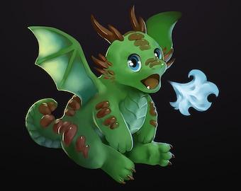 The Dragon Twins! Green - 17x11 Print