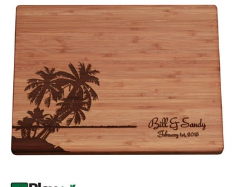 Engraved Cutting Board w/ Palm Tree, Island Design, 11x16 or 9x12, Personalized Wedding Gift,Bamboo,Custom Cutting Board, Wedding Gifts