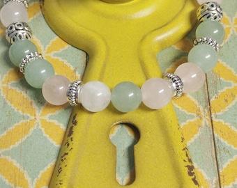 Light Green Aventurine and Rose Quartz Stone Bracelet, Meditation, Stackable, Stretch Bracelet, Boho, Natural Stone