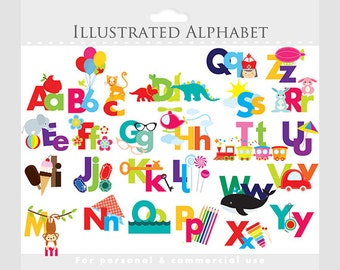 Alphabet clipart - illustrated alphabet, teaching clip art, for teachers, letters, ABCs, pictures, for personal and commercial use