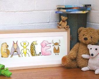 Children's Animal Alphabet Name Art