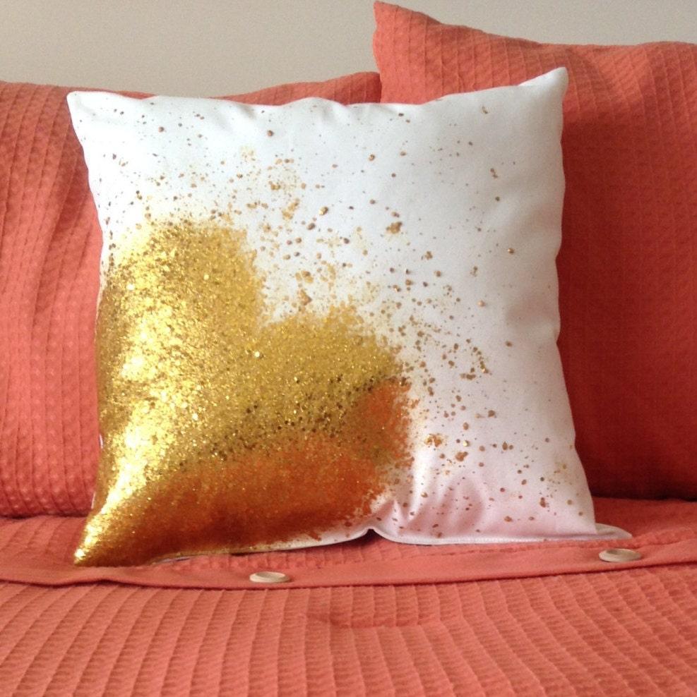 Gold Glitter Heart Pillow Gold Glitter Splatter Pillow Gold