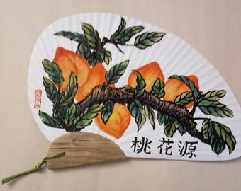 SALE Chinese Peach Fan Asian