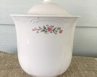 Vintage Pfaltzgraph flour canister, Meadow Lane pattern, sweet pink roses