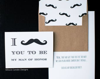 I Mustache You To Be My Groomsman Greeting Card | Ask Your Best Man | Card from Groom to Wedding Party | How to Ask Guys To Be in Wedding