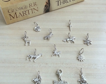Special Game of Thrones - set of 12 stitch markers for your knitting with 1 removable