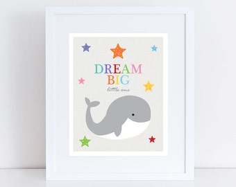 dream big little one nursery print whale & starfish, colourful kids nursery art children, sea ocean stars animal, boy, girl - rainbow bright