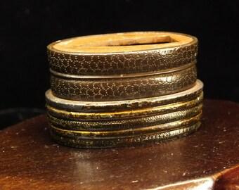 Lot of 2 EDO Fuchi - copper and shakudo - fine texture