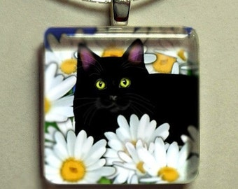 BLACK CAT DAISIES 1 inch art glass tile pendant with chain