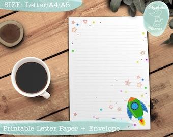 Printable writing paper Printable letter paper Printable envelope Printable stationary Rocket and stars cartoon letter paper