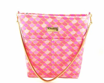 MTO - Pink Mermaid Scales Shoulder Bag with Leather Strap - 9 pockets