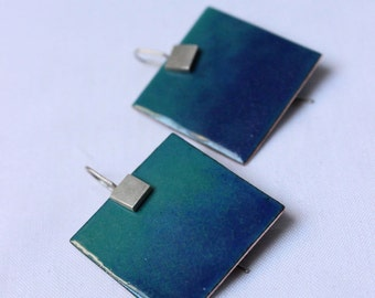 Enameled earrings Deep sea earrings made of turquoise and Blue Enamels, Sterling silver and copper, Square earrings