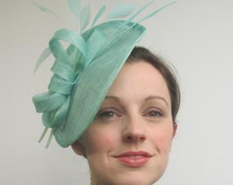 Aqua Blue Hat - Aqua Fascinator, Hatinator, Saucer Hat, Mint Green Fascinator, Races Hat, Womens Hat, Tea Party, Wedding Fascinator, Disc