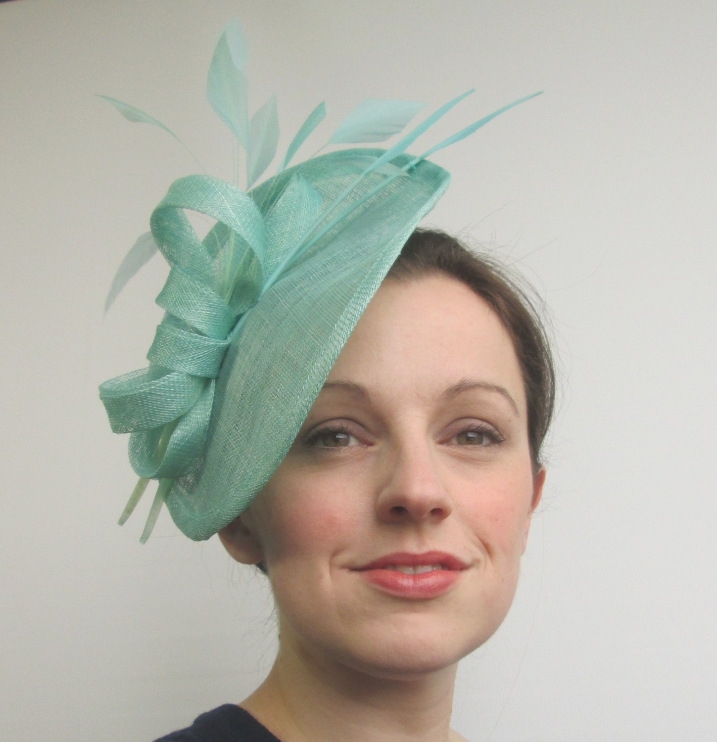 Aqua Blue Hatinator Aqua Fascinator Saucer Hat Mint Green