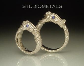 Dragon Wedding Rings, Gold Dragon Ring, Unique Wedding Bands, Matching Wedding Band Set, Ouroboros Ring, Alternative Wedding Ring, R509