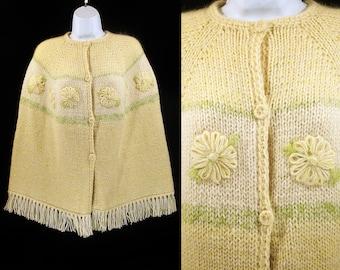 Vintage 70's Floral Pattern Knit Poncho Pastel Yellow