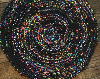 Black with neon accents Rag Rug