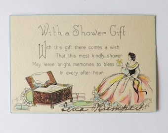 Vintage Art Deco wedding shower card lady filling hope chest with gifts scrapbooking ephemera