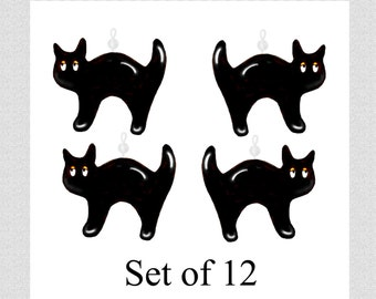 Black Halloween Cats...Shower Curtain Ornaments..Set of 12