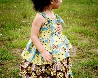 Eden Dress For Girls 12M-8Y PDF Pattern & Instructions-3 tiered, twirly skirt, sweet heart bodice, adjustable straps, elastic back