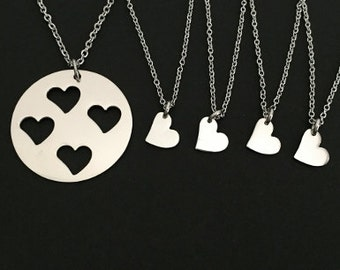Mother and 4 Daughters Necklaces. Matching Family Necklaces. Stainless Steel Heart Necklaces. 4 Small Heart Necklaces.
