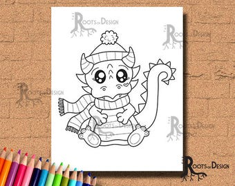 INSTANT DOWNLOAD Coloring Page -  Winter Baby Dragon Art Print, doodle art, printable
