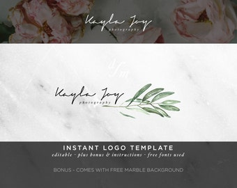 Watercolor Logo - Calligraphy Logo - DIY Logo Template - Boho Loho - Green Leaves - Business Branding - Feminine Logo - Photography Logo 17